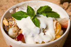 Muesli with yogurt Royalty Free Stock Image