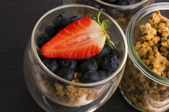 Muesli and yogurt with berries Stock Photography