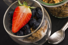 Muesli and yogurt with berries Royalty Free Stock Image
