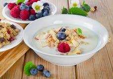 Muesli and yogurt with  berries Stock Photography