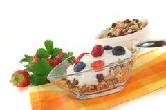 Muesli with yogurt, fresh fruit and nuts Stock Photos