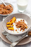 Muesli,yogurt and grilled peaches Stock Image