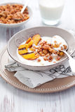 Muesli,yogurt and grilled peaches Royalty Free Stock Photography