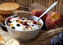 Muesli with yogurt,healthy breakfast rich in fiber. Bowl of muesli with raisins and berry fruits, toast and peaches,healthy breakfast rich in fiber stock image