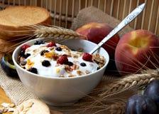 Muesli with yogurt,healthy breakfast rich in fiber. Bowl of muesli with raisins and berry fruits, toast and peaches,healthy breakfast rich in fiber Stock Image