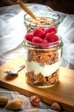 Muesli with yogurt and raspberries. Royalty Free Stock Image