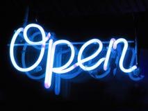 Muestra abierta del neón Imagen de archivo libre de regalías