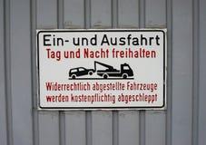 Muestra alemana del estacionamiento prohibido Fotos de archivo libres de regalías