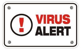Muestra alerta del rectángulo del virus Fotografía de archivo