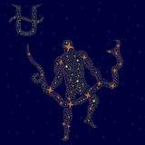 Muestra alternativa Ophiuchus del zodiaco sobre el cielo estrellado ilustración del vector