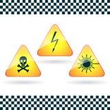 Muestra-alto voltaje, veneno; radiación de laser. ilustración del vector