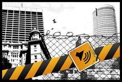 Muestra amarilla de la ciudad stock de ilustración