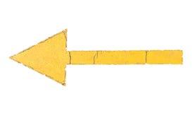 Muestra amarilla de la flecha aislada en el fondo blanco Fotografía de archivo libre de regalías