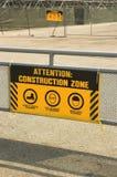 Muestra amarilla de la zona de la construcción Fotografía de archivo