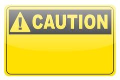 Muestra amarilla en blanco de la escritura de la etiqueta de la precaución Fotos de archivo