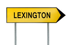 Muestra amarilla Lexington del concepto de la calle aislada en blanco Foto de archivo