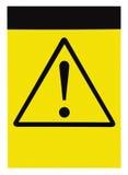 Muestra amonestadora de la atención del triángulo del peligro general negro amarillo en blanco de la precaución, espacio vertical Imagen de archivo libre de regalías