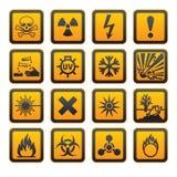 Muestra anaranjada de los símbolos s del peligro Fotografía de archivo