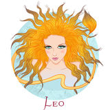 Muestra astrológica de Leo como muchacha hermosa Fotografía de archivo libre de regalías