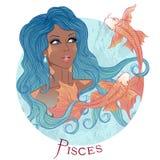 Muestra astrológica de Piscis como muchacha afroamericana hermosa Fotos de archivo