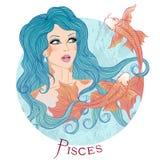 Muestra astrológica de Piscis como muchacha hermosa Fotos de archivo libres de regalías