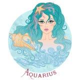 Muestra astrológica del acuario como muchacha hermosa Foto de archivo libre de regalías