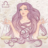 Muestra astrológica del libra como retrato de la muchacha hermosa ilustración del vector
