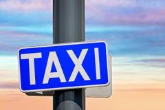 Muestra azul de la fila de taxi Fotos de archivo libres de regalías