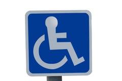 Muestra azul de la silla de rueda Imagenes de archivo