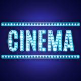 Muestra azul del cine de la lámpara de neón stock de ilustración
