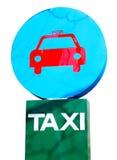Muestra azul y verde del estacionamiento del taxi Fotos de archivo