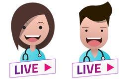 Muestra blanca de Live Stream con el sistema del avatar de los doctores Fotografía de archivo libre de regalías