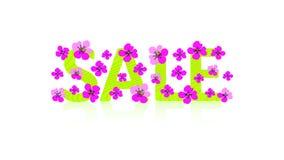 Muestra brillante ` Verde de la VENTA del ` del texto y flores rosadas Ejemplo lindo del vector El concepto floral del diseño se  ilustración del vector