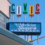 Muestra cívica de la farmacia Fotografía de archivo libre de regalías
