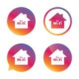 Muestra casera de Wifi Símbolo de Wifi Red inalámbrica Imágenes de archivo libres de regalías