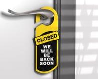Muestra cerrada, suspensión de puerta Fotos de archivo libres de regalías