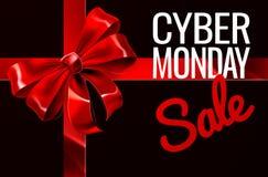 Muestra cibernética del arco de la cinta del regalo de la venta de lunes Imagen de archivo libre de regalías