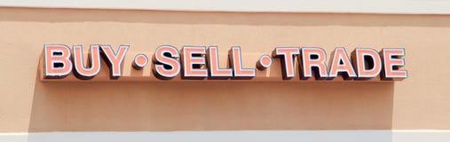 Muestra comercial de compra-venta de la tienda del envío Fotografía de archivo
