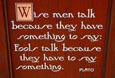 Muestra con cita de Platón Imagen de archivo libre de regalías