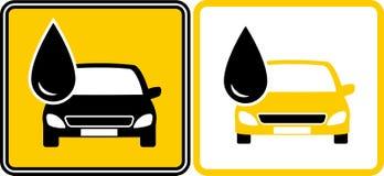 Muestra con el descenso de gasolina y aceite y el coche Fotos de archivo