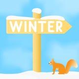 Muestra con el invierno de la inscripción Foto de archivo libre de regalías