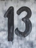 Muestra con el número 13 adentro el viernes por la noche Imagenes de archivo