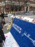 Muestra conmemorativa 2013 del maratón de Boston Hereford Boylston Foto de archivo