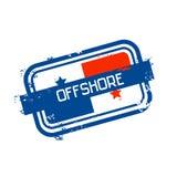 Muestra costera del Grunge del sello de la bandera de Panamá ilustración del vector