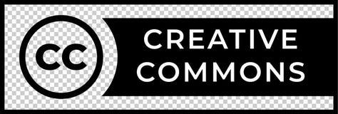 Muestra creativa de la gestión de las derechas de los campos comunes con el icono circular del cc stock de ilustración