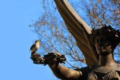 Muestra de Angel Statue Holds de la paz Olive Branch Foto de archivo libre de regalías