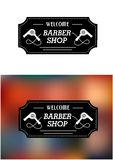 Muestra de Barber Shop con hairdryers Fotos de archivo libres de regalías