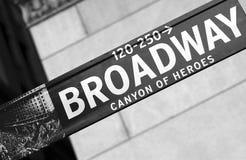 Muestra de calle de Broadway Imágenes de archivo libres de regalías