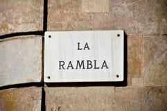 Muestra de calle de Rambla del La fotografía de archivo