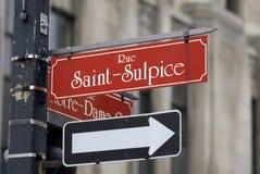 Muestra de calle del Santo-Sulpice de la ruda Imagen de archivo